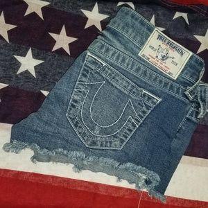 True religion cut off shorts blue Jean 27